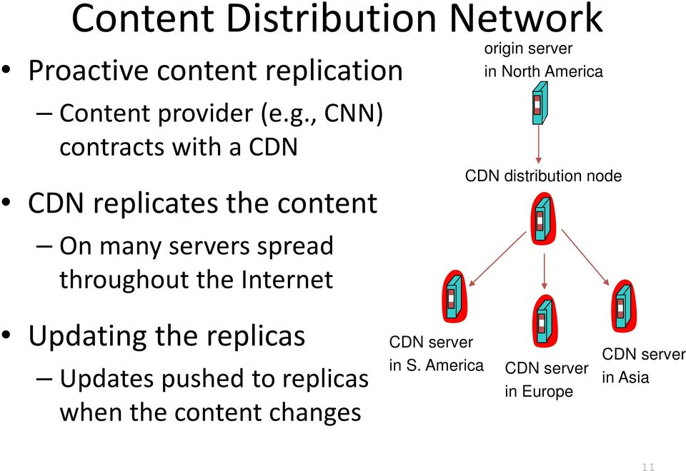 Internet origin server in North America CDN distribution node Updating the replicas Updates