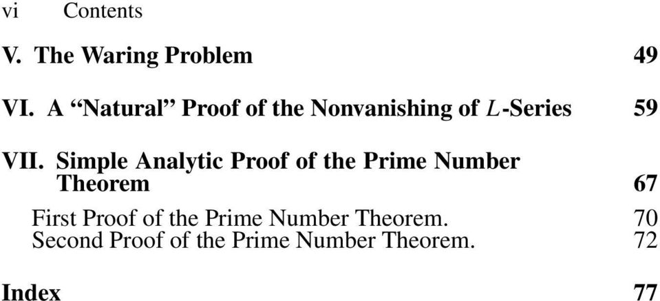 Simple Analytic Proof of the Prime Number Theorem 67 First