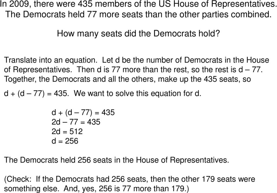 Then d is 77 more than the rest, so the rest is d 77. Together, the Democrats and all the others, make up the 435 seats, so d + (d 77) 435.