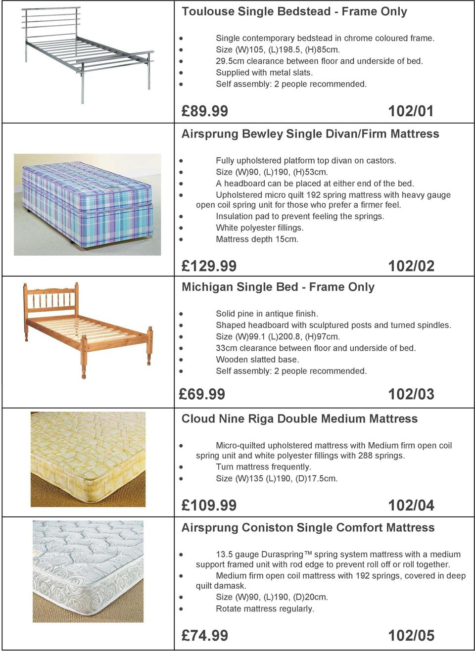99 102/01 Continental Airsprung Bewley Solid Pine Single Double Divan/Firm Bed - Frame Only - Fully upholstered platform top divan on castors. Solid Size (W)90, pine with (L)190, slatted (H)53cm.