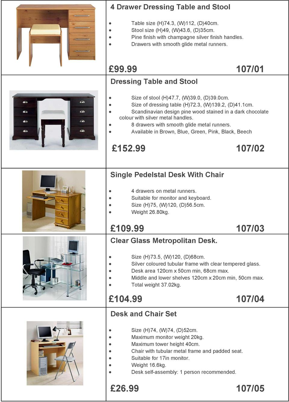 or left untreated. 99.99 69.99 107/01 Continental Dressing Table Solid and Pine Stool Double Bed - Frame Only - Size of stool (H)47.7, (W)39.0, (D)39.0cm.