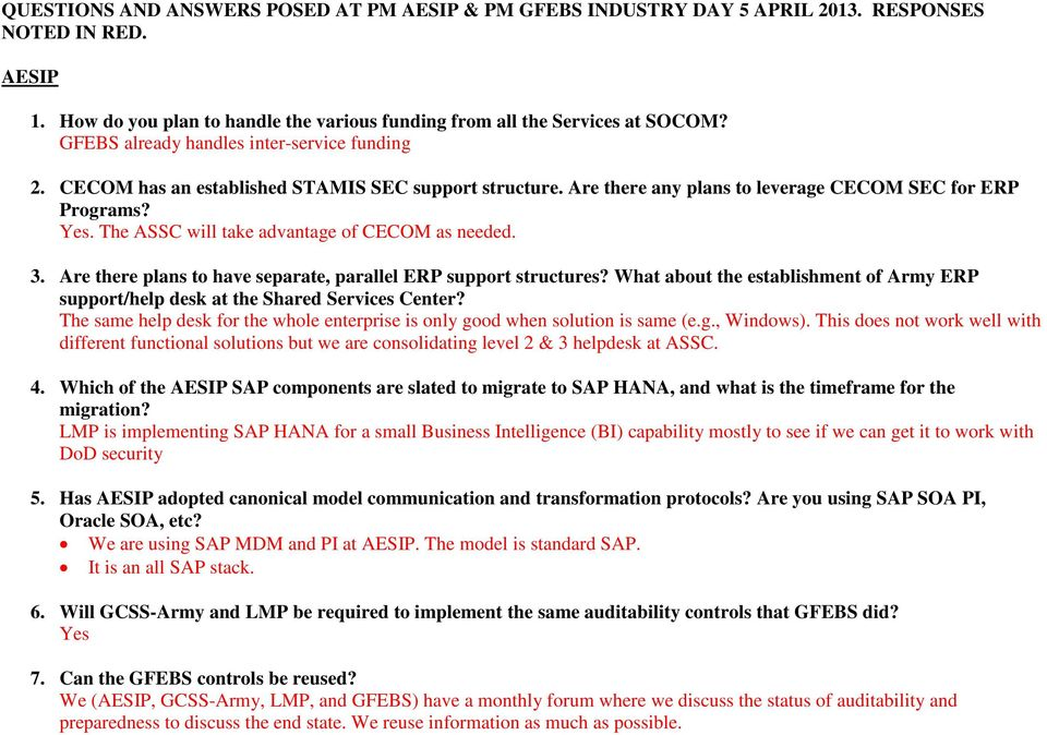Questions And Answers Posed At Pm Aesip Pm Gfebs Industry Day 5