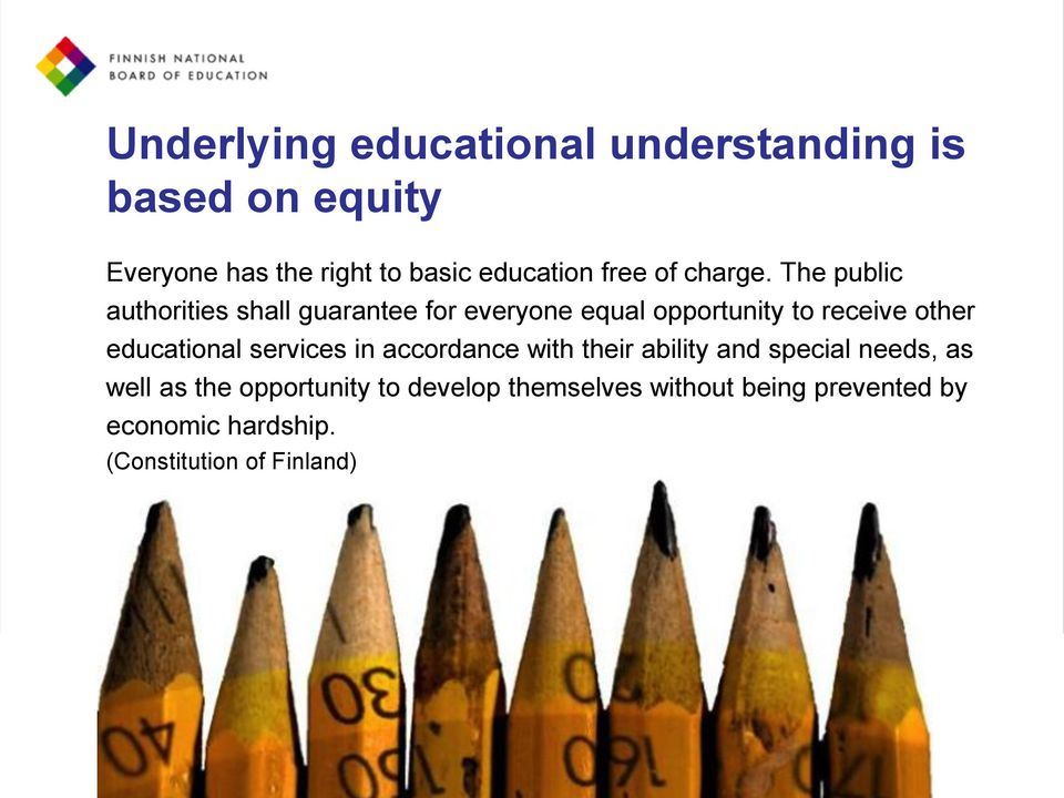 The public authorities shall guarantee for everyone equal opportunity to receive other educational