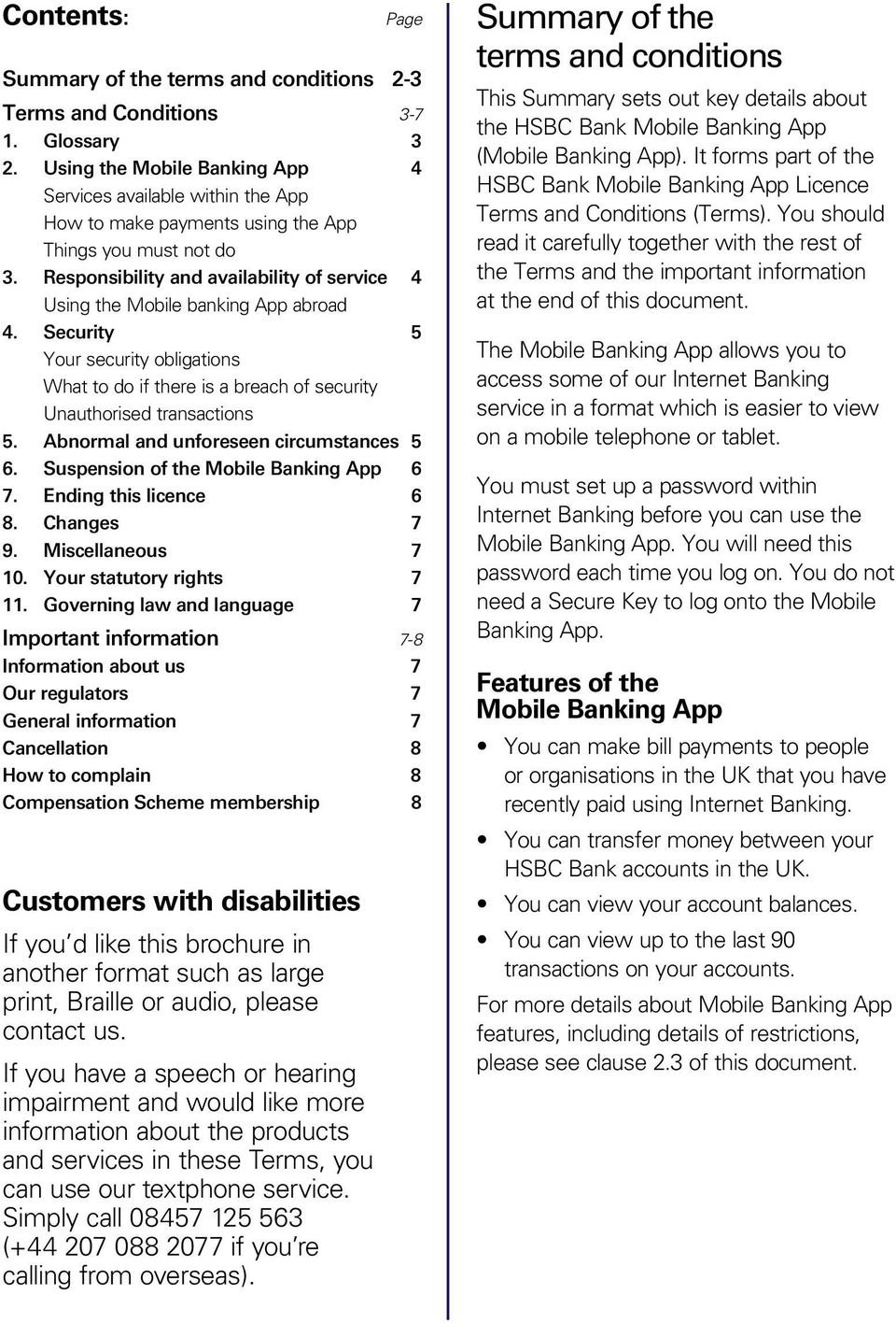 Mobile Banking App  Summary, Terms and Conditions and