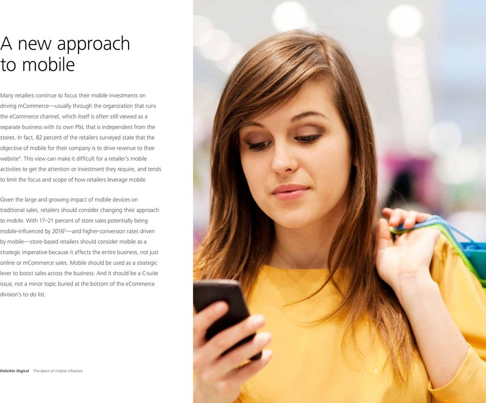 In fact, 82 percent of the retailers surveyed state that the objective of mobile for their company is to drive revenue to their website 4.