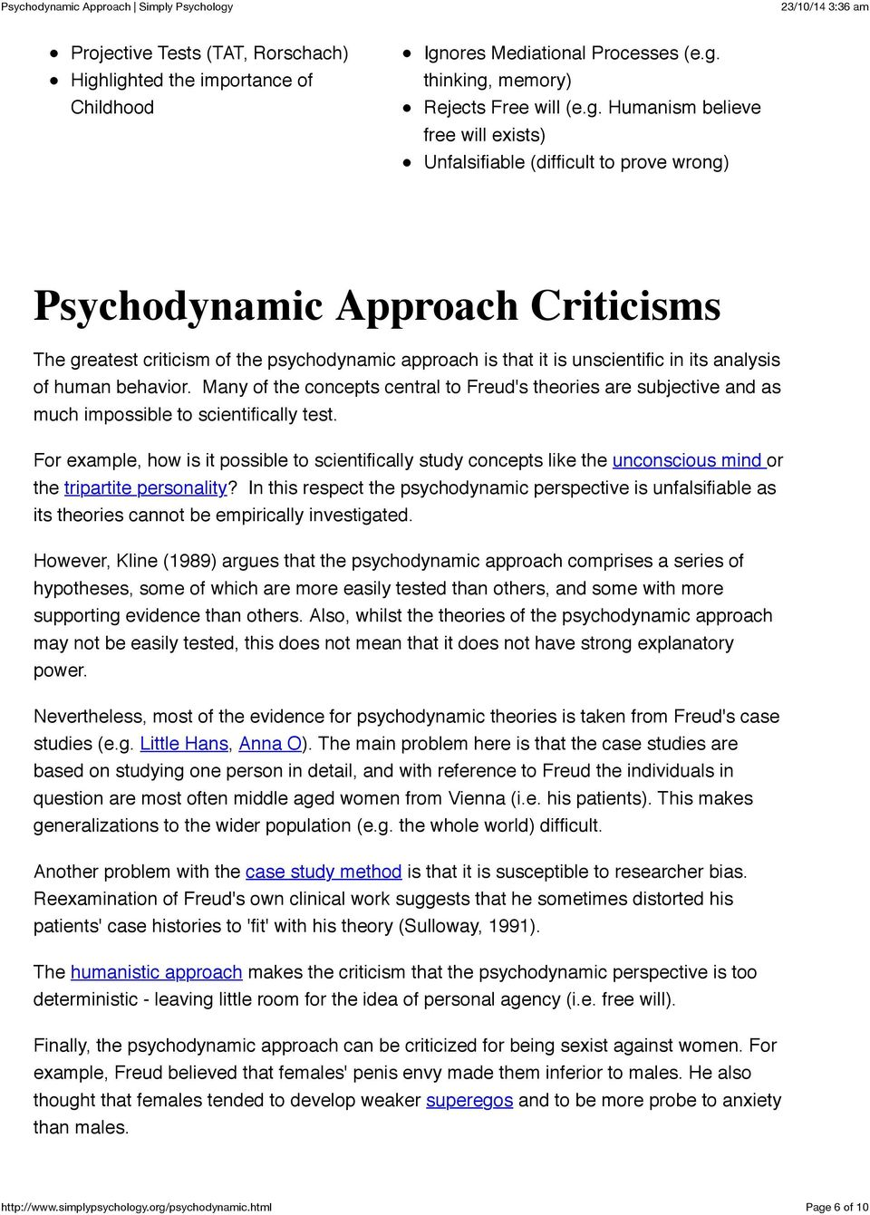 Psychodynamic Approach Criticisms The greatest criticism of the psychodynamic approach is that it is unscientific in its analysis of human behavior.
