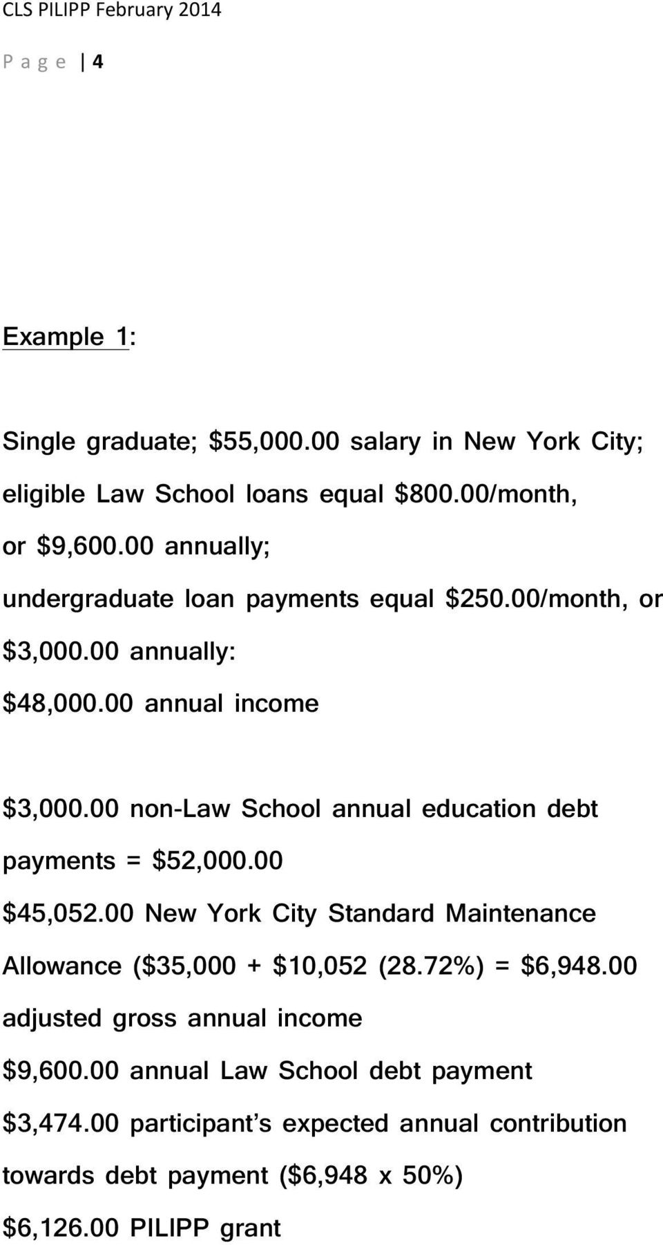 00 non-law School annual education debt payments = $52,000.00 $45,052.00 New York City Standard Maintenance Allowance ($35,000 + $10,052 (28.