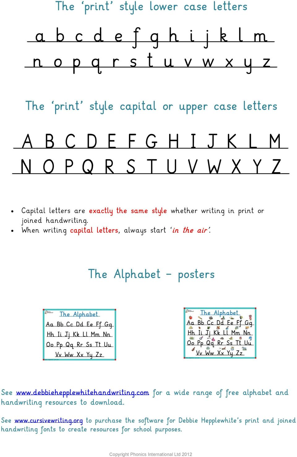 When writing capital letters, always start in the air. The Alphabet posters See www.debbiehepplewhitehandwriting.