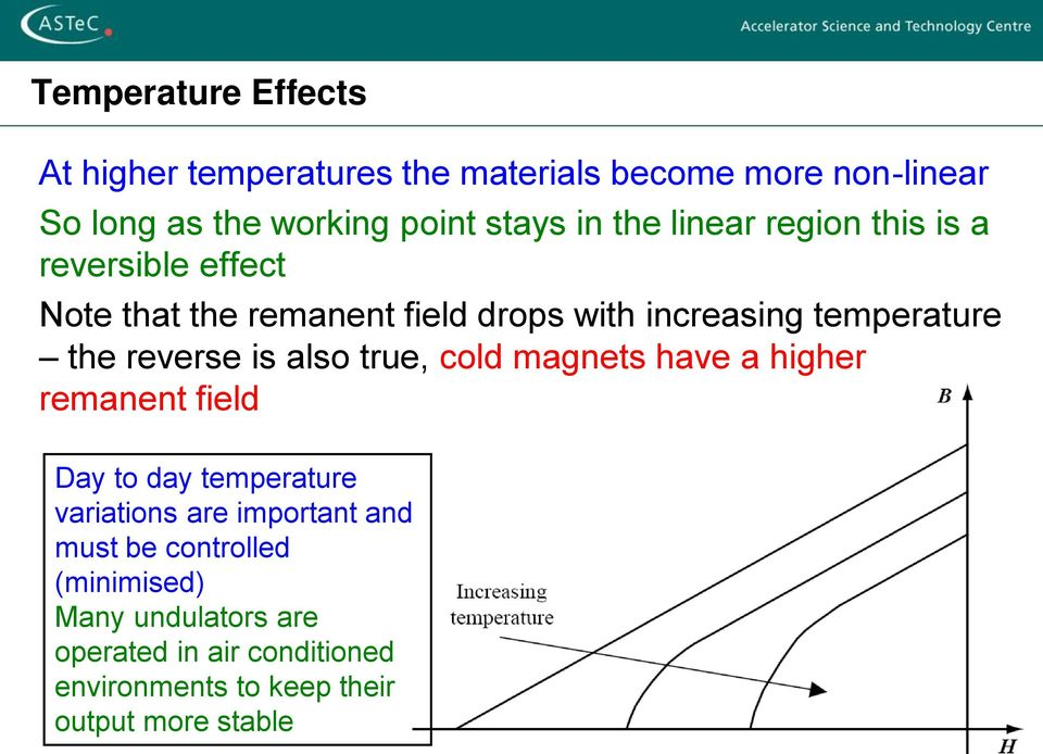 reverse is also true, cold magnets have a higher remanent field Day to day temperature variations are important and
