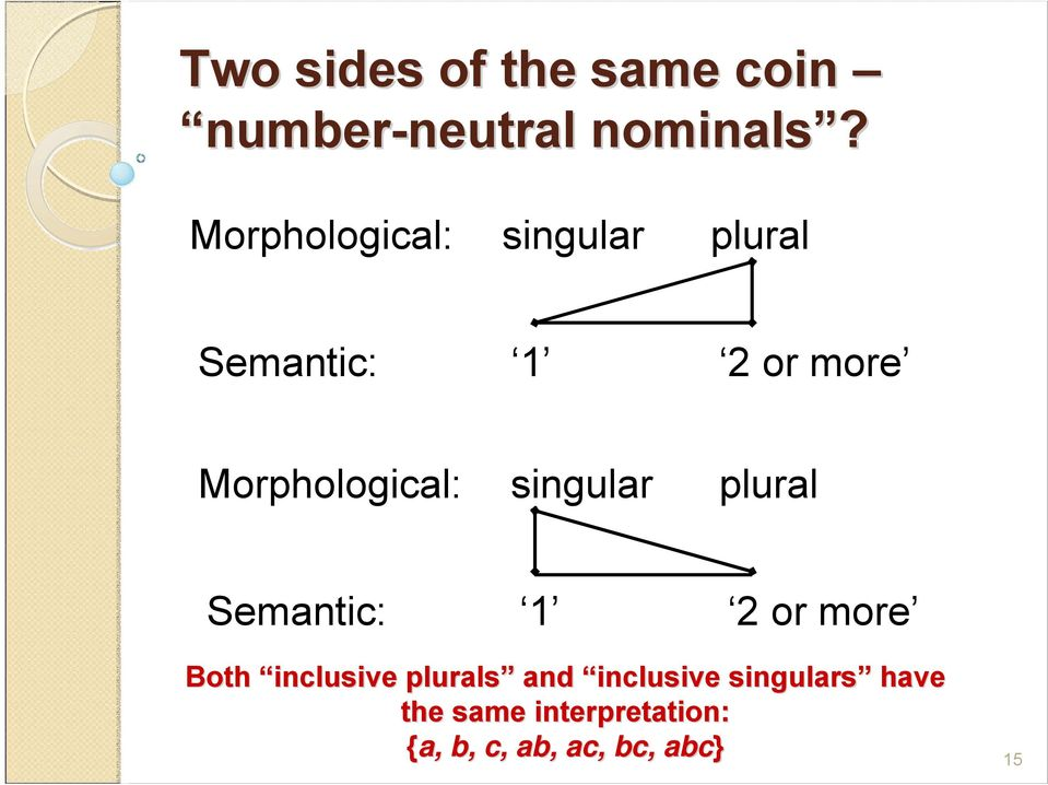 singular plural Semantic: 1 2 or more Both inclusive plurals and