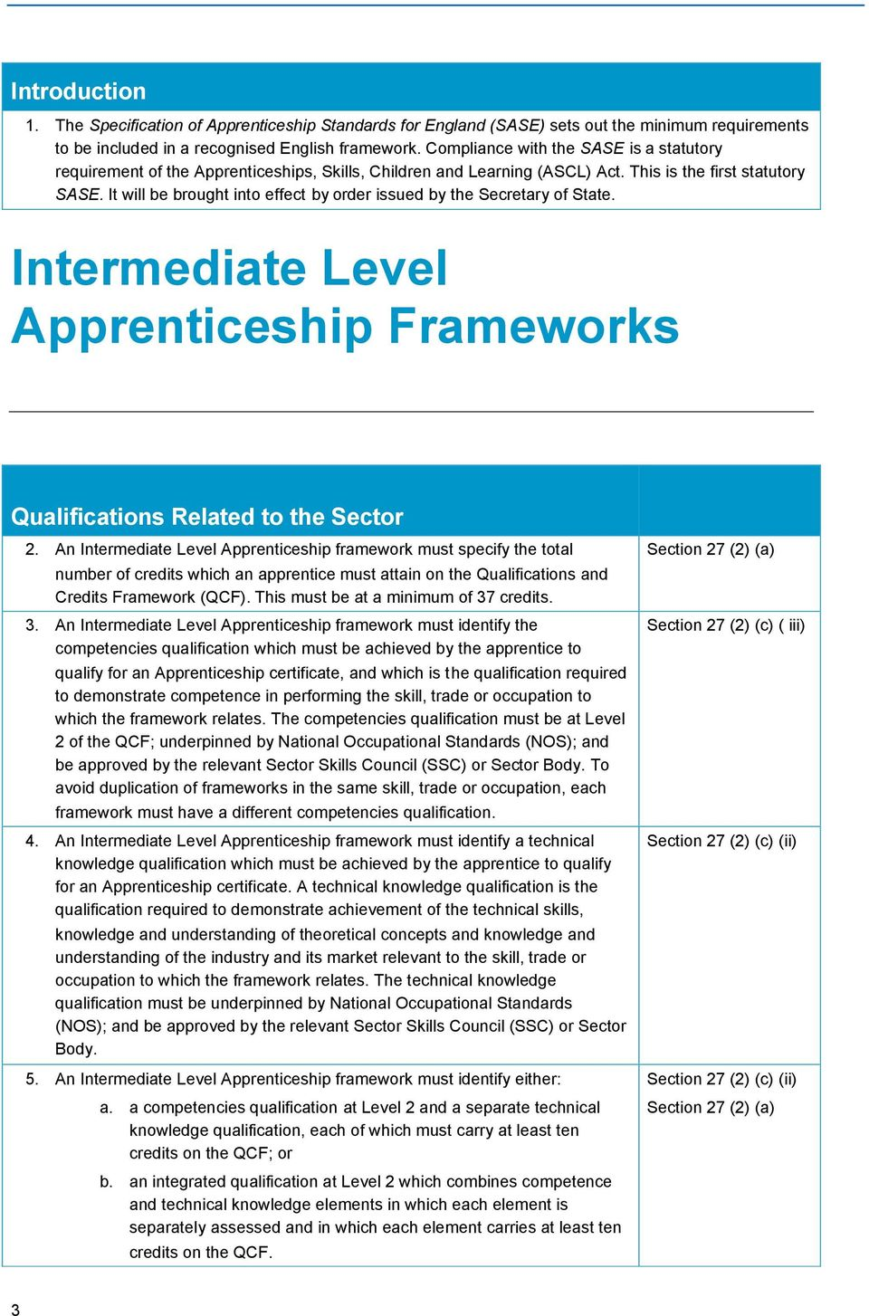 It will be brought into effect by order issued by the Secretary of State. Intermediate Level Apprenticeship Frameworks Qualifications Related to the Sector 2.