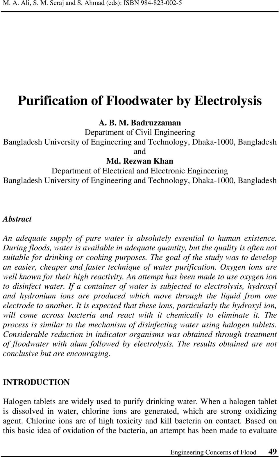 Purification of Floodwater by Electrolysis - PDF