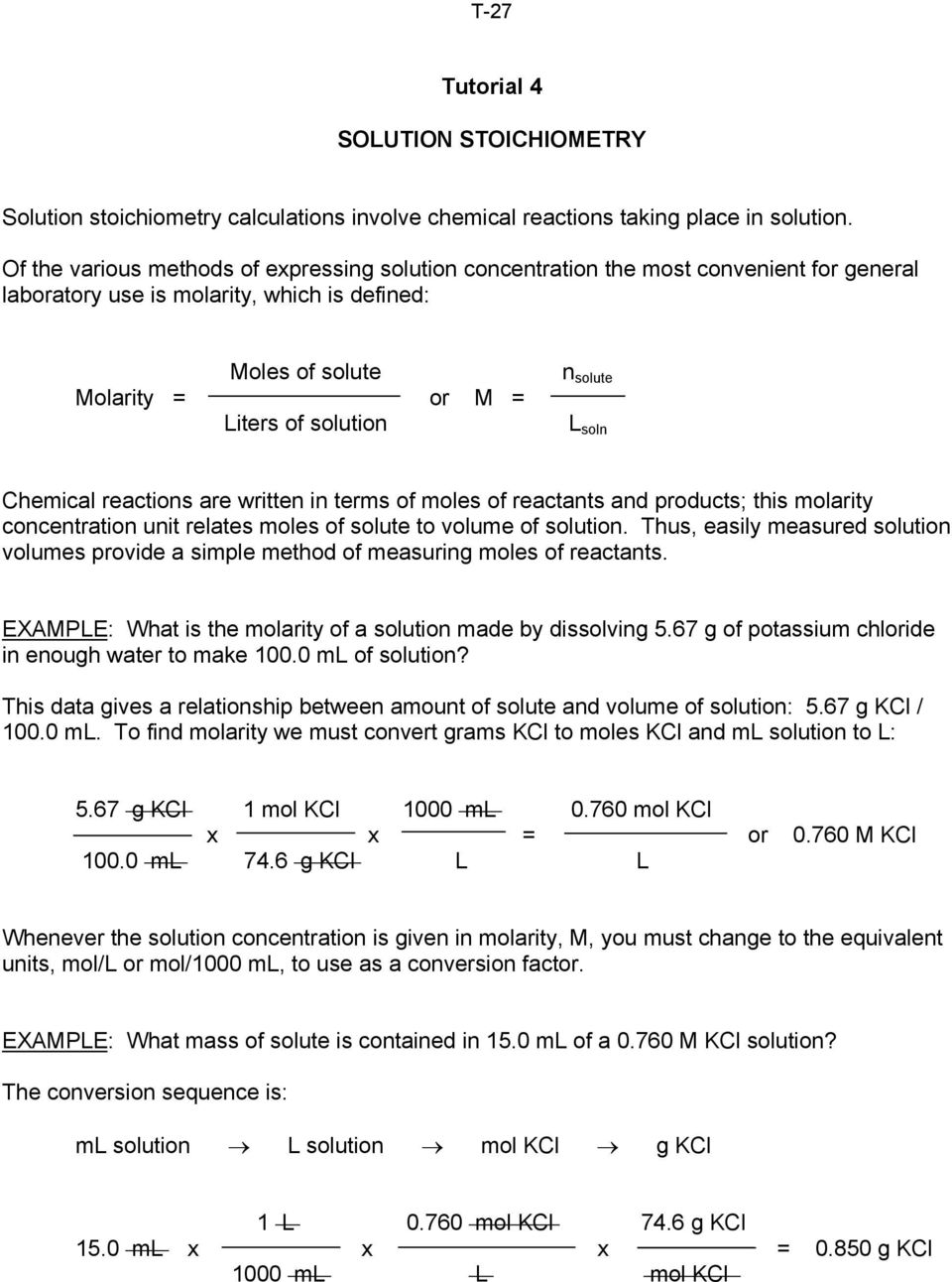 worksheet Molarity Calculations Worksheet tutorial 4 solution stoichiometry l soln chemical reactions are written in terms of moles reactants and products this