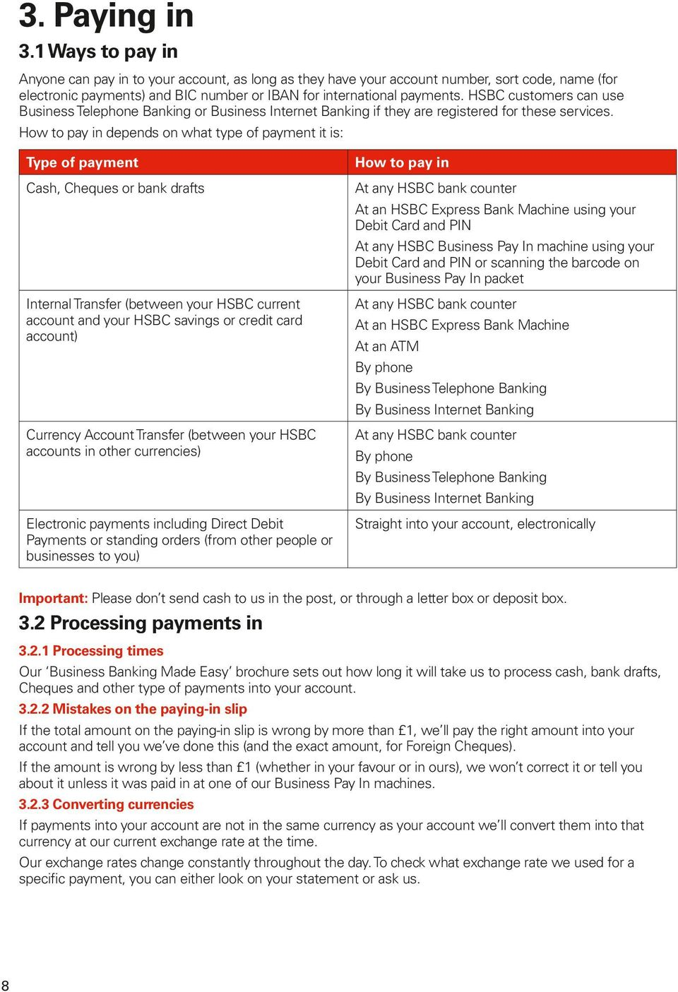 HSBC customers can use Business Telephone Banking or Business Internet Banking if they are registered for these services.