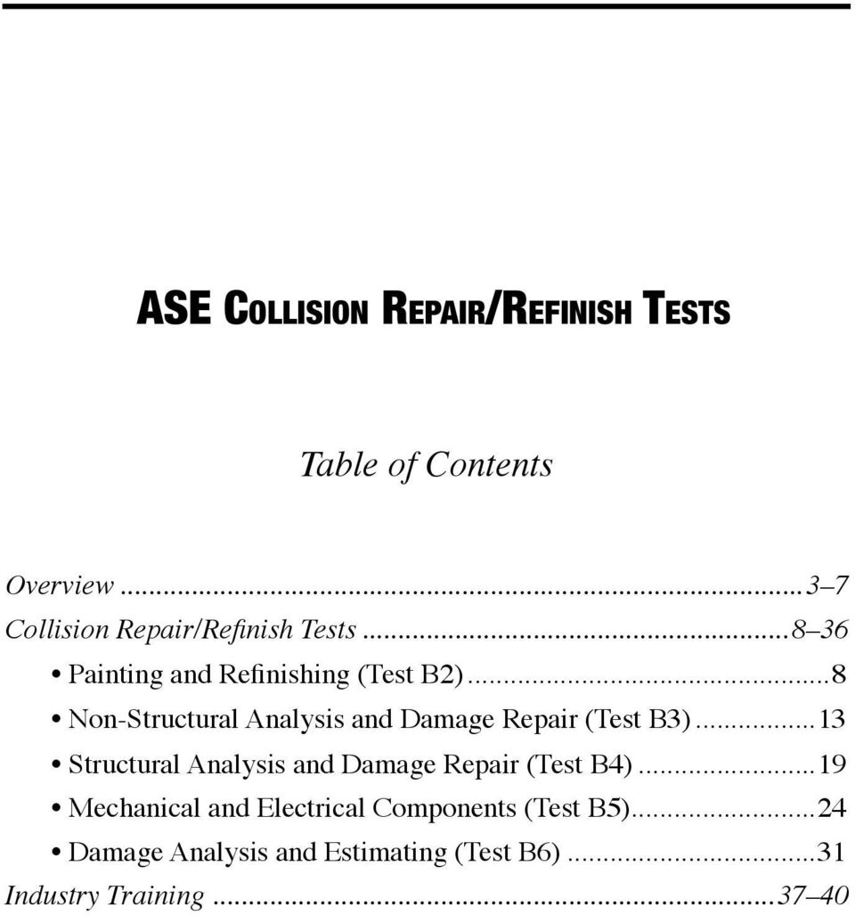 ase test b6 study guide