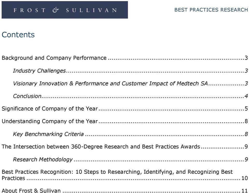 .. 4 Significance of Company of the Year... 5 Understanding Company of the Year... 8 Key Benchmarking Criteria.