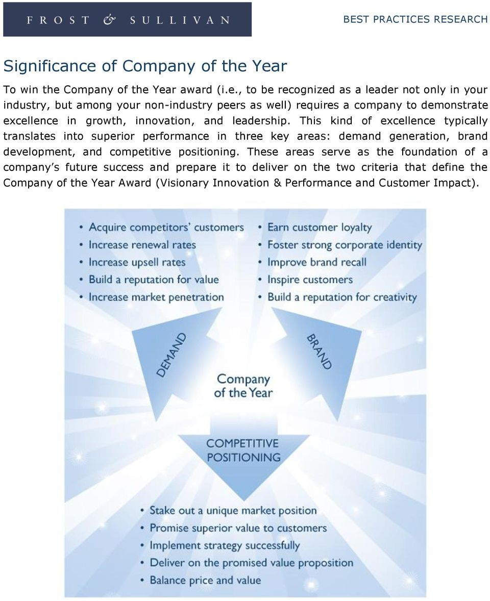 Year To win the Company of the Year award (i.e., to be recognized as a leader not only in your industry, but among your non-industry peers as well) requires