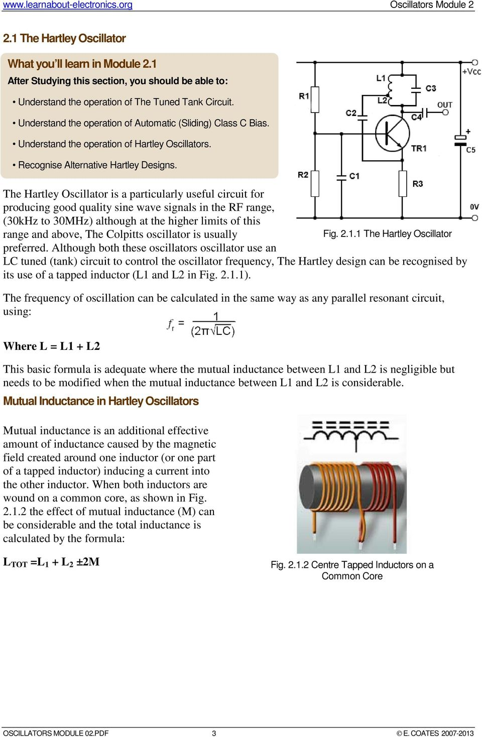 The Hartley Oscillator is a particularly useful circuit for producing good quality sine wave signals in the RF range, (30kHz to 30MHz) although at the higher limits of this range and above, The