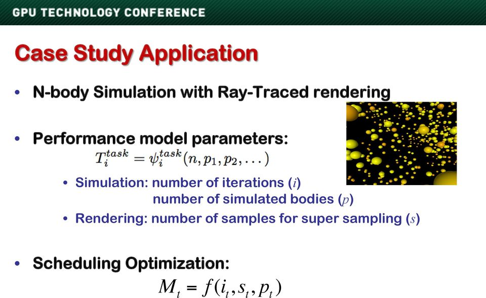 number of simulated bodies (p) Rendering: number of samples for