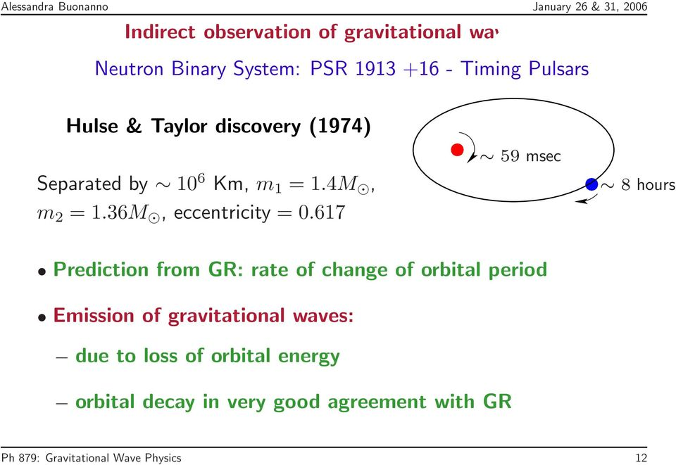 617 59 msec 8 hours Prediction from GR: rate of change of orbital period Emission of gravitational