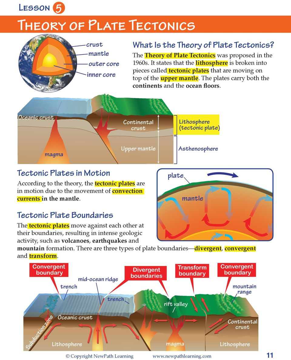 Oceanic Continental Lithosphere (tectonic plate) magma Upper mantle Asthenosphere Tectonic Plates in Motion According to the theory, the tectonic plates are in motion due to the movement of