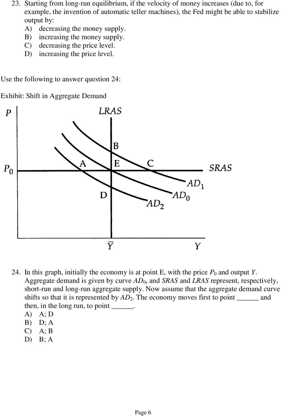 Use the following to answer question 24: Exhibit: Shift in Aggregate Demand 24. In this graph, initially the economy is at point E, with the price P 0 and output Y.