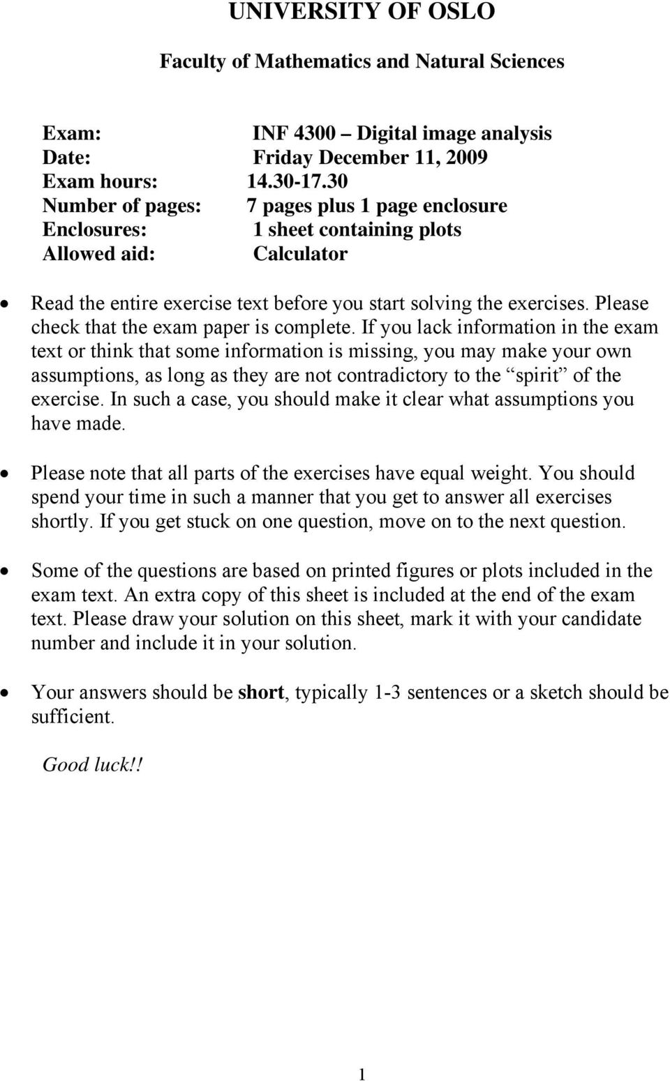 Please check that the exam paper is complete.