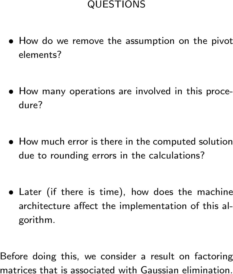 How much error is there in the computed solution due to rounding errors in the calculations?