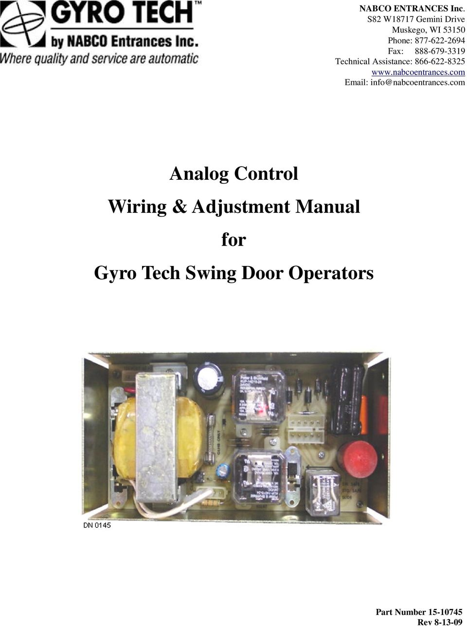 Analog control wiring adjustment manual for gyro tech