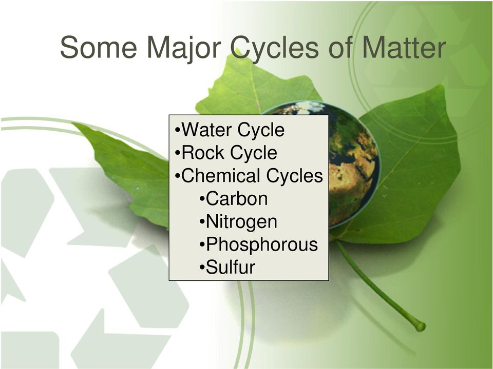Cycle Chemical Cycles