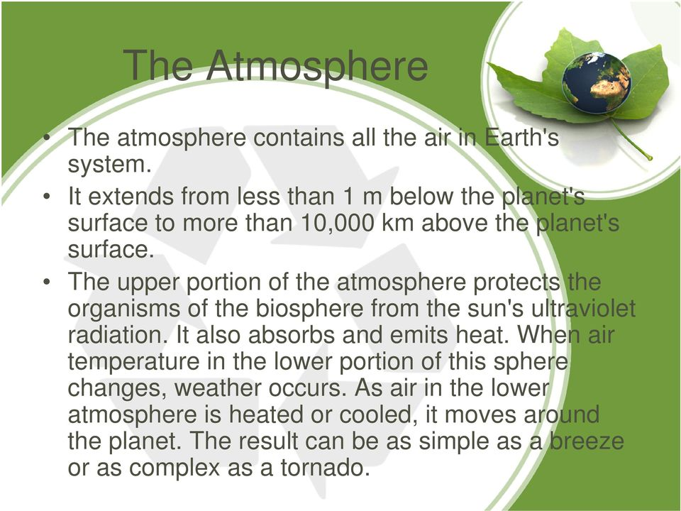 The upper portion of the atmosphere protects the organisms of the biosphere from the sun's ultraviolet radiation.