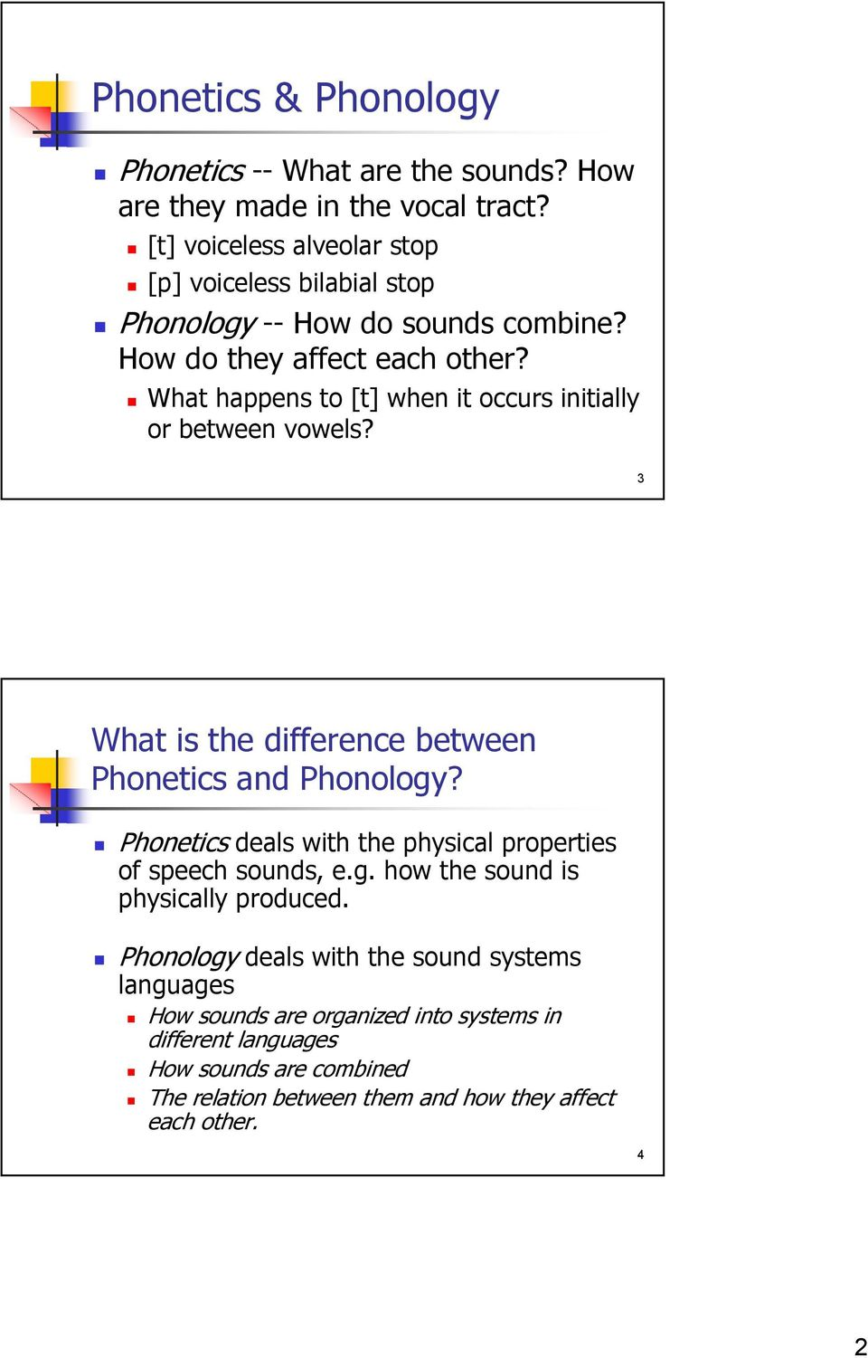 What happens to [t] when it occurs initially or between vowels? 3 What is the difference between Phonetics and Phonology?