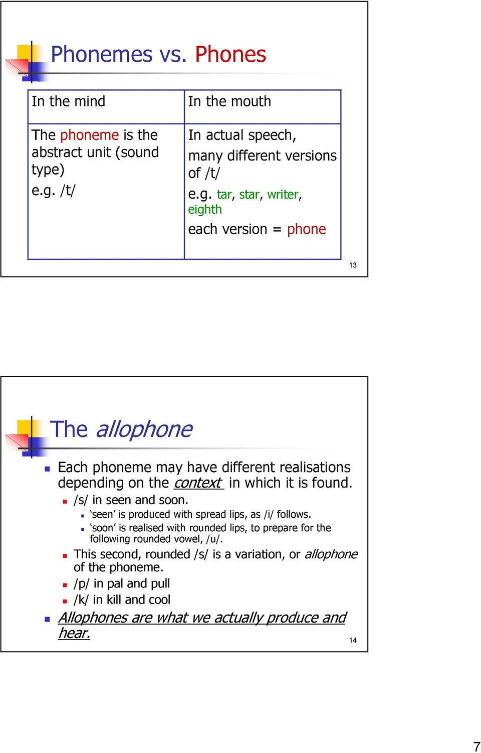 tar, star, writer, eighth each version = phone 13 The allophone Each phoneme may have different realisations depending on the context in which it is found.