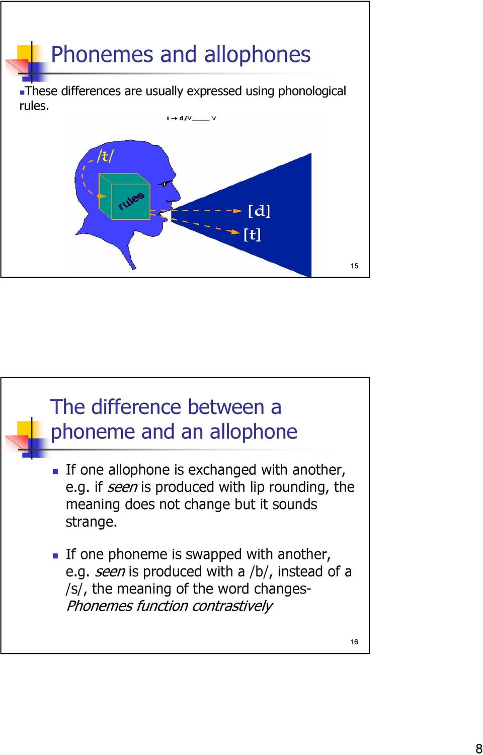 d with another, e.g. if seen is produced with lip rounding, the meaning does not change but it sounds strange.