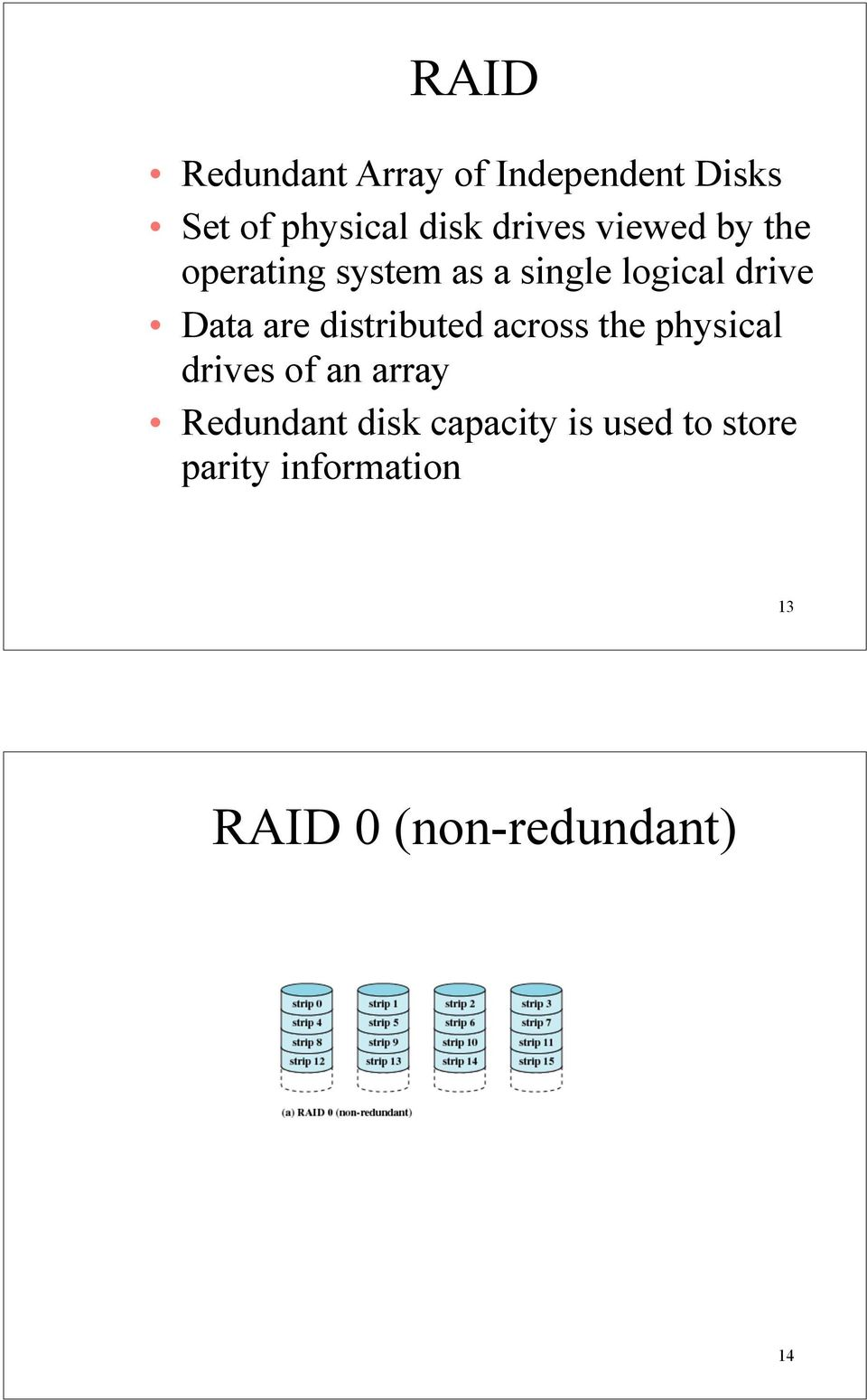 are distributed across the physical drives of an array Redundant