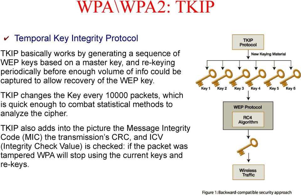 TKIP changes the Key every 10000 packets, which is quick enough to combat statistical methods to analyze the cipher.