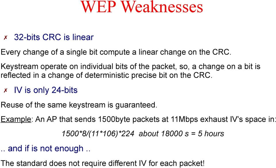 bit on the CRC. IV is only 24-bits Reuse of the same keystream is guaranteed.