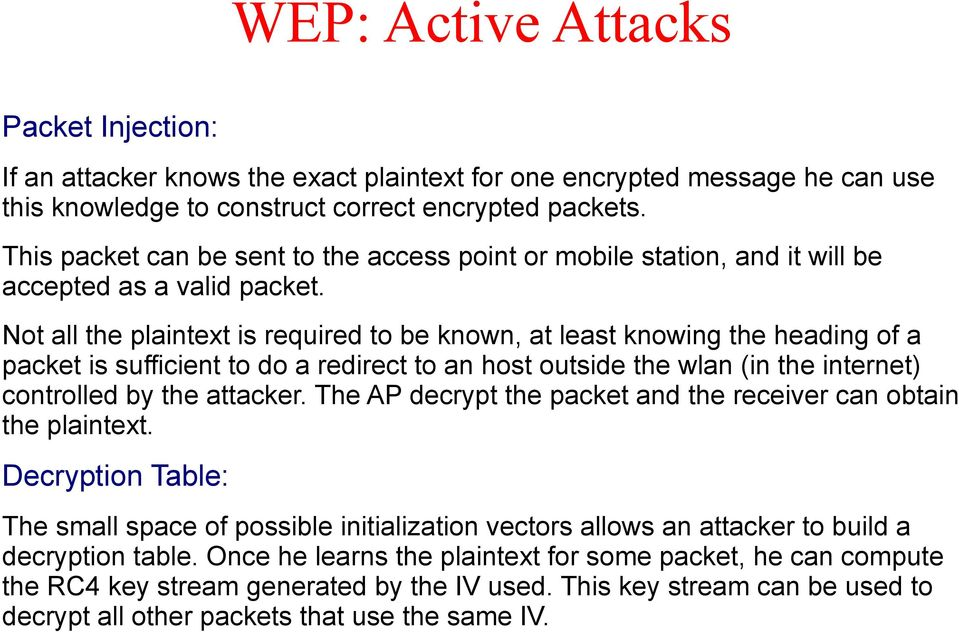 Not all the plaintext is required to be known, at least knowing the heading of a packet is sufficient to do a redirect to an host outside the wlan (in the internet) controlled by the attacker.