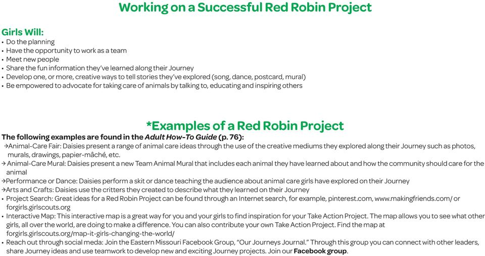 Red Robin Project The following examples are found in the Adult How-To Guide (p.