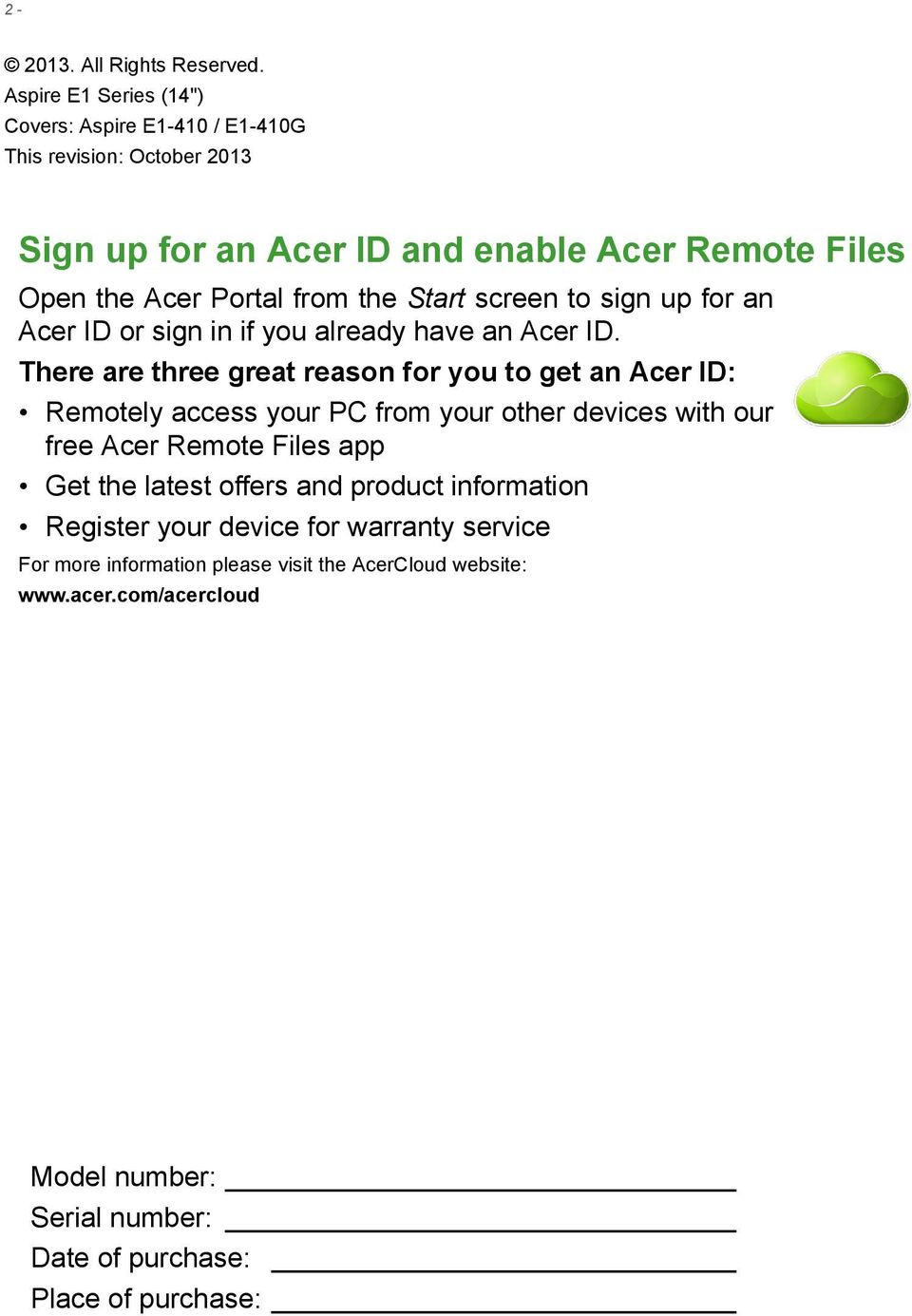 the Start screen to sign up for an Acer ID or sign in if you already have an Acer ID.