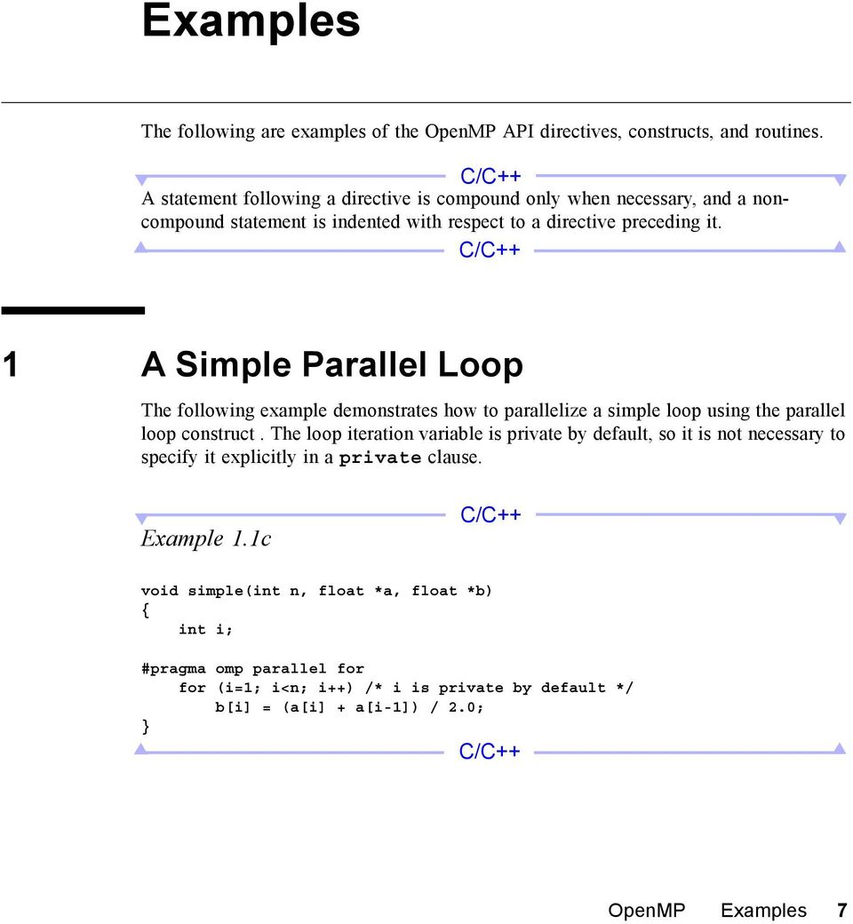 1 A Simple Parallel Loop The following example demonstrates how to parallelize a simple loop using the parallel loop construct.