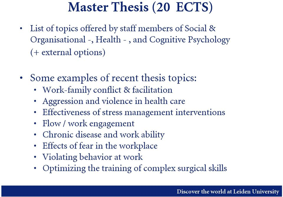 list of thesis topics in management