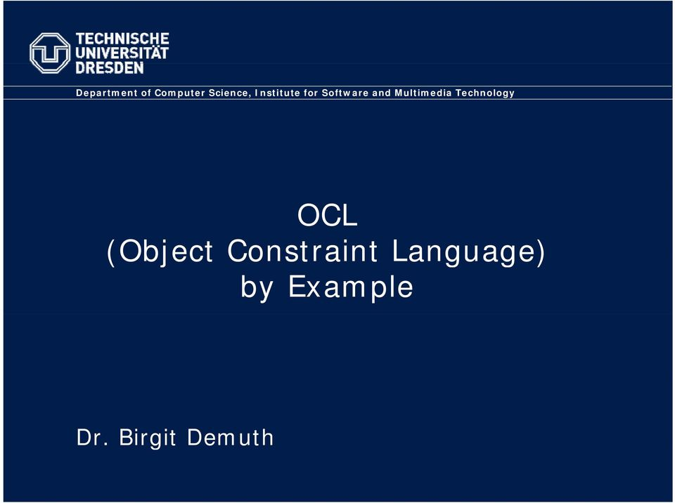 Multimedia Technology OCL (Object