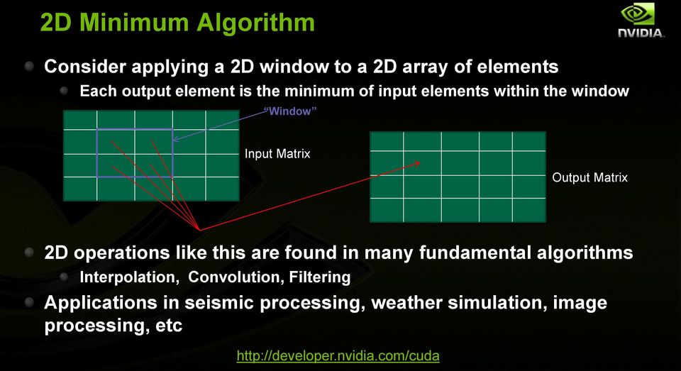 Matrix 2D operations like this are found in many fundamental algorithms Interpolation,