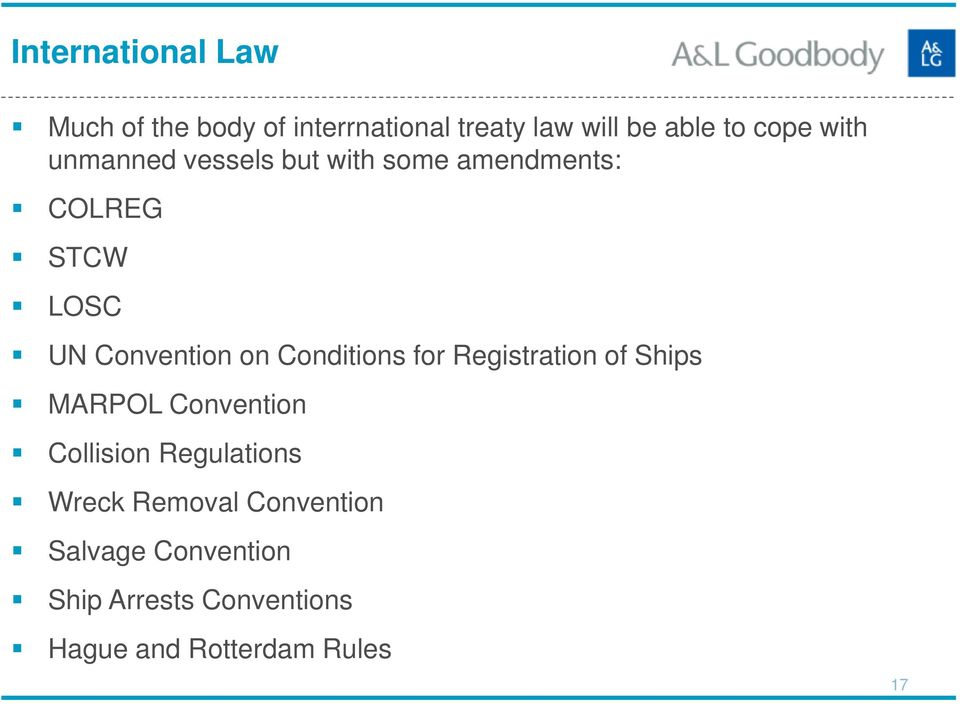 Conditions for Registration of Ships MARPOL Convention Collision Regulations Wreck