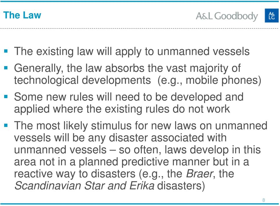 stimulus for new laws on unmanned vessels will be any disaster associated with unmanned vessels so often, laws develop in this