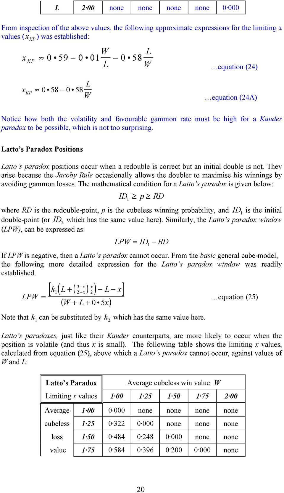Latto s Paradox Positions Latto s paradox positions occur when a redouble is correct but an initial double is not.