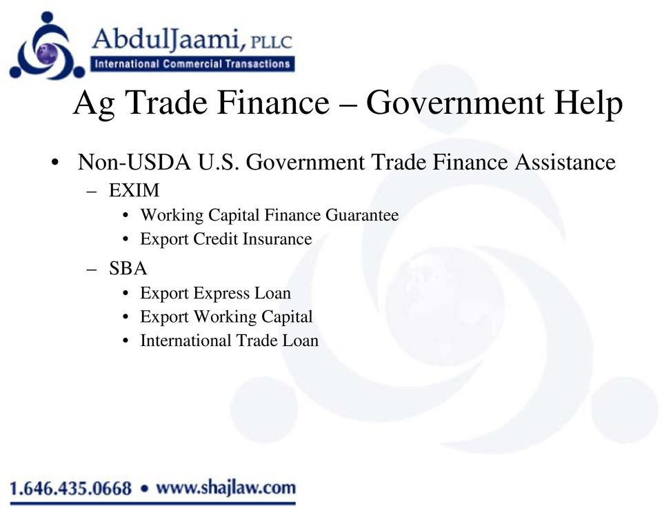 Government Trade Finance Assistance EXIM Working