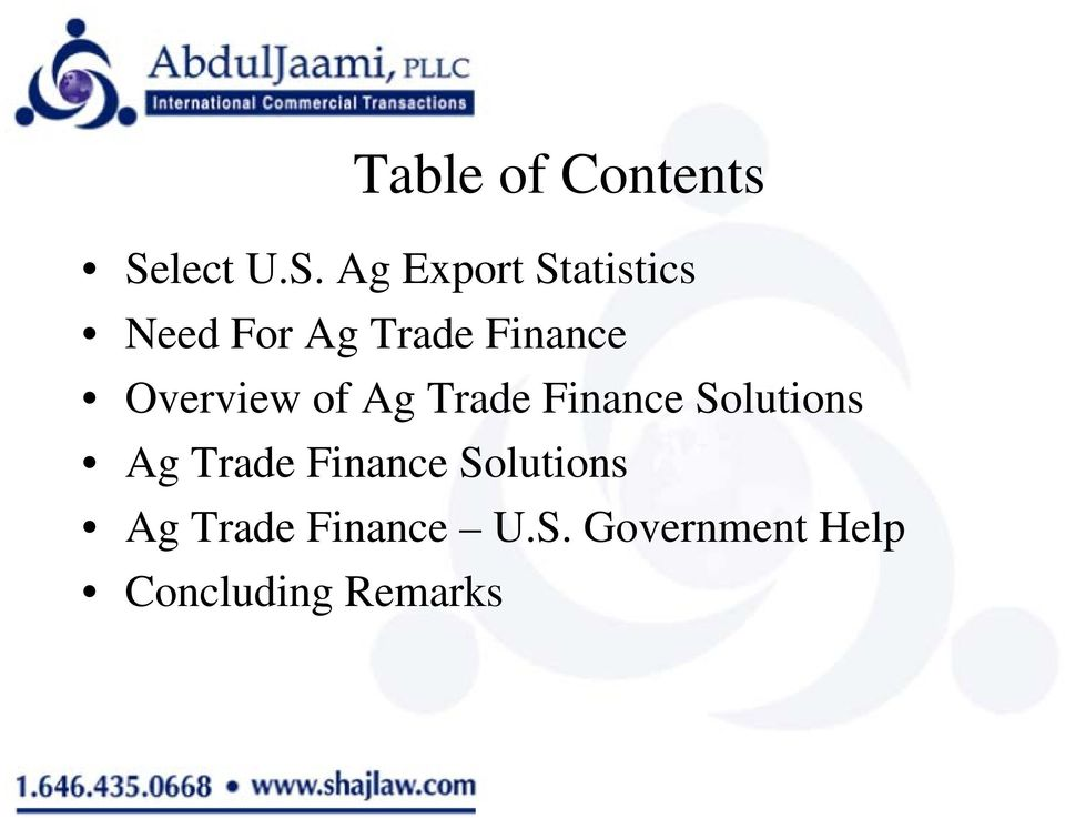 Ag Export Statistics Need For Ag Trade Finance