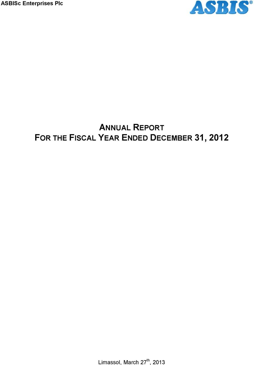 FISCAL YEAR ENDED DECEMBER